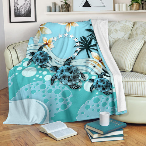Cook Islands Premium Blanket - Blue Turtle Hibiscus | Love The World