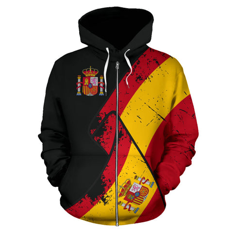 Spain Special Grunge Flag Zipper Hoodie | High Quality | Hot Sale