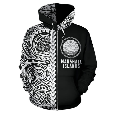 Marshall Islands Hoodie Polynesian - Half Style (Zip) TH5