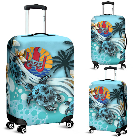 Tahiti Luggage Covers - Blue Turtle Hibiscus | Love The World