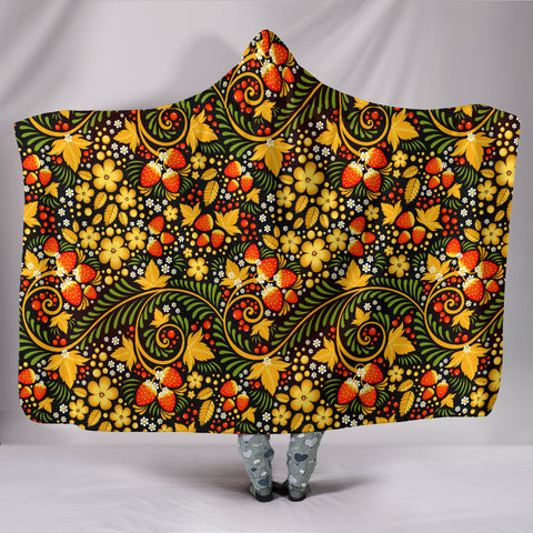 (Custom) Russian Khokhloma Royalty Hooded Blanket - Khokhloma Strawberries Pattern BN21