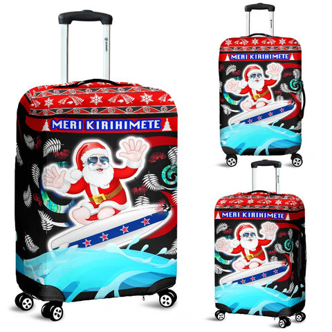 New Zealand Santa Christmas Luggage Covers Pohutukawa Fern And Kiwi | 1sttheworld.com