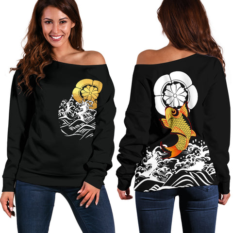 The Golden Koi Fish Off Shoulder Sweater A7