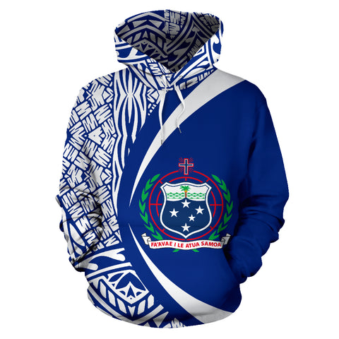 Samoa Coat Of Arm Blue Hoodie - Circle Style