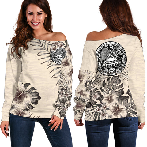 American Samoa The Beige Hibiscus Off Shoulder Sweater A7