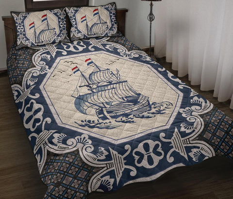 Nederland Quilt Bed Set - Dutch Boat Delft Blue