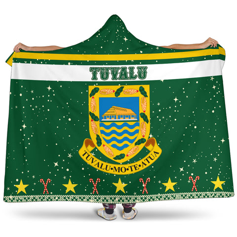 Tuvalu Coat Of Arms Hooded Blanket - Green - Christmas Style - J092