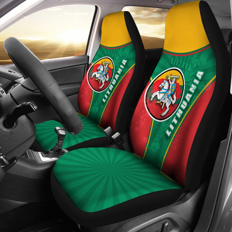 Image of Lithuania - Lietuva Car Seat Covers Circle Stripes Flag Proud Version 1 | 1sttheworld