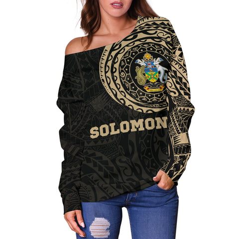 Solomon Polynesian Tattoo Style Off Shoulder Sweater A7
