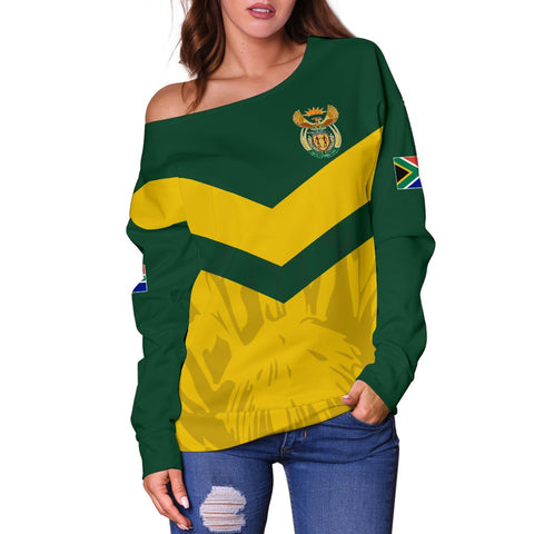 1stTheWorld South Africa Off Shoulder Sweater - South African Rising King Protea Women Yellow A10