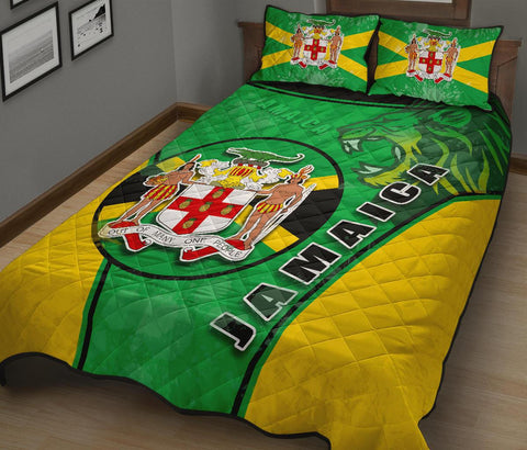 Jamaica Lion Quilt Bed Set Circle Stripes Flag Version 1 | 1sttheworld