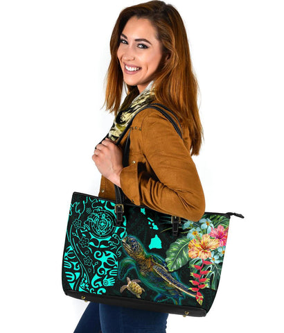 Hawaii Tiki Polynesian Large Leather Tote - Turtle Mix Hibiscus Turquoise K4
