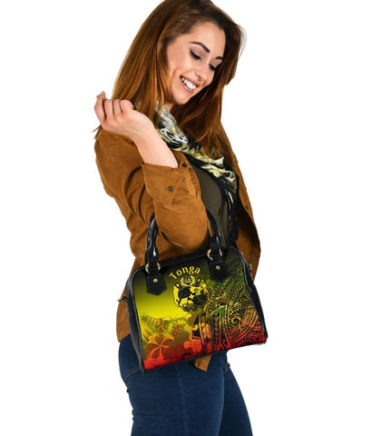 Tonga Shoulder Handbag - Humpback Whale with Tropical Flowers (Yellow)