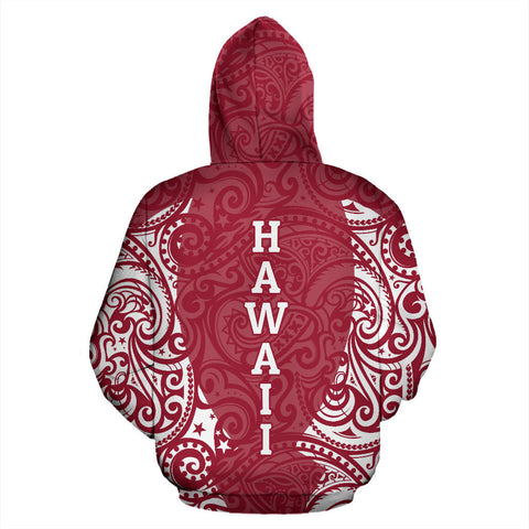 Hawaii Hoodie Polynesian Hibiscus Red TH2