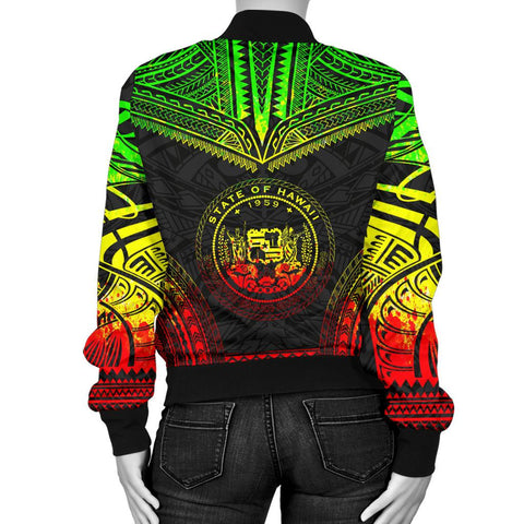 Hawaii Polynesian Chief Women'S Bomber Jacket - Reggae Version