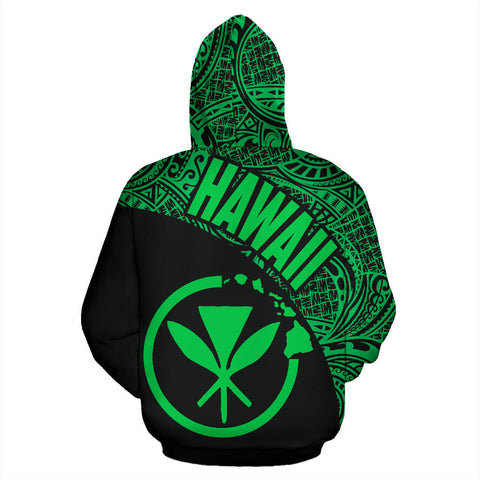 Hawaii Zip-Up Hoodie Maoli Polynesian Black Green Version Th9