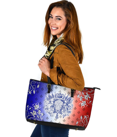 "France Large Leather Tote - Iris Flowers ""Les Francais"" Flag"