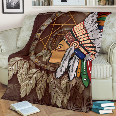 Image of Native American Premium Blanket - Native American Girls With Dreamcatcher - BN01