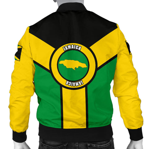 Jamaica Bomber Jacket, Jamaica Rasta Rising Flag Men A10