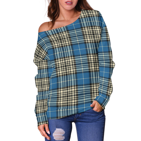 Image of Tartan Womens Off Shoulder Sweater - Napier Ancient - Bn