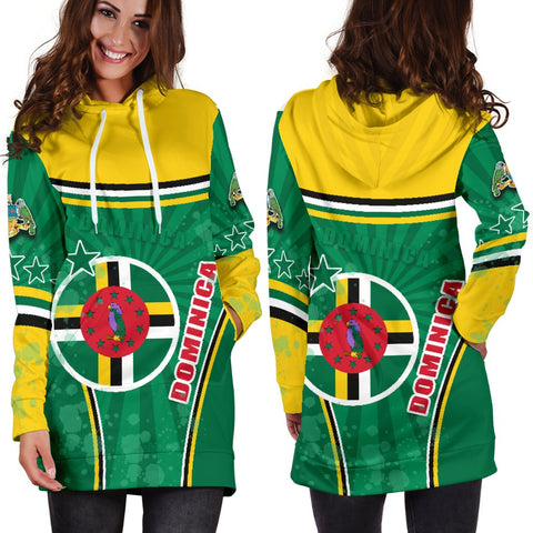 Dominica Women Hoodie Dress Circle Stripes Flag Version 1 | 1sttheworld.com