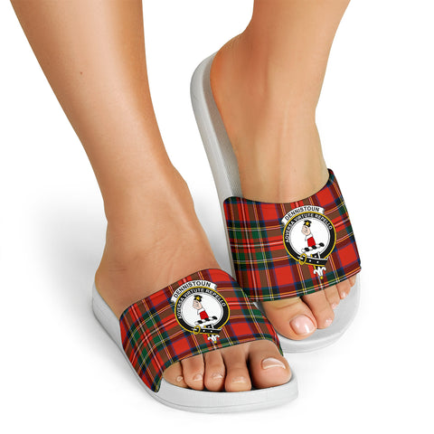 Tartan Slide Sandals - Dennistoun Clans - White Version