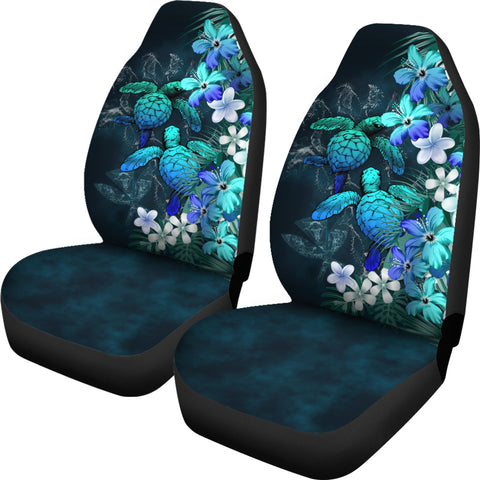 Kanaka Maoli (Hawaiian) Car Seat Covers - Sea Turtle Tropical Hibiscus And Plumeria Blue | Love The World