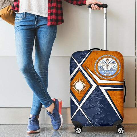 Marshall Islands Luggage Cover - Marshall Islands Flag with Polynesian Patterns