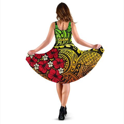 Guam Reggae Hibiscus Women's Dress A02