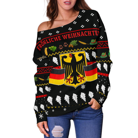 Germany Christmas Women's Off Shoulder Sweater TH5
