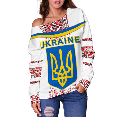 Image of Ukraine Women Off Shoulder Sweater - Vibes Version K8