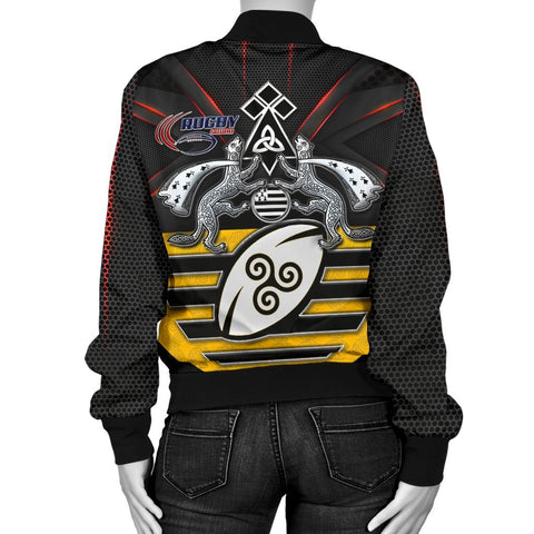 Bretagne Rugby with Celtic Triskelion and Stoat Ermine Sport Women's Bomber Jacket - BN21