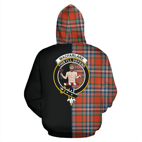 MacFarlane Ancient Tartan Hoodie Half Of Me TH8