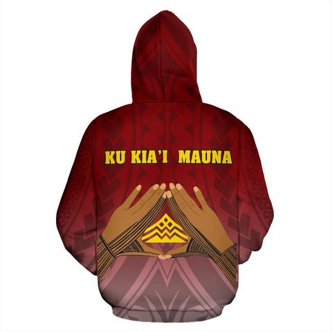Hawaii Mauna Kea All Over Zip Hoodie - Hand Sign Symbol - BN12