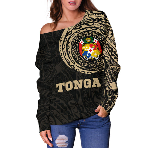 Tonga Polynesian Tattoo Style Off Shoulder Sweater A7