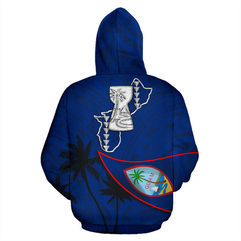 Guam Latte Stone Zip Hoodie Flag Over Ocean K4