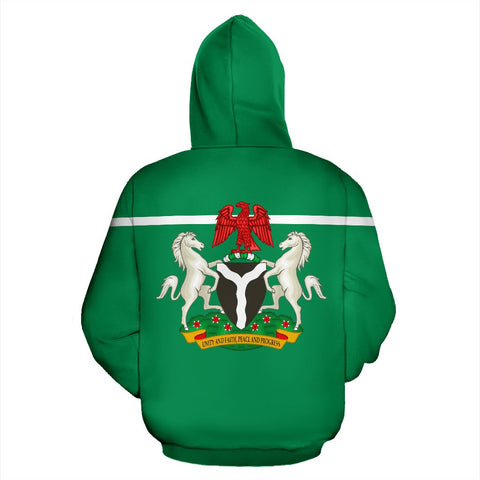 Nigeria All Over Zip-Up Hoodie - Horizontal Style - BN09