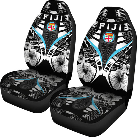 Fiji Tattoo Car Seat Covers Hibiscus - Black White Color 2