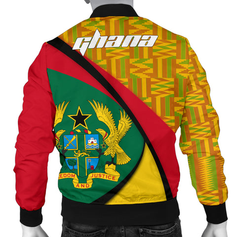Image of 1stTheWorld Ghana Bomber Jacket, Ghana Coat Of Arms Pattern Men A10