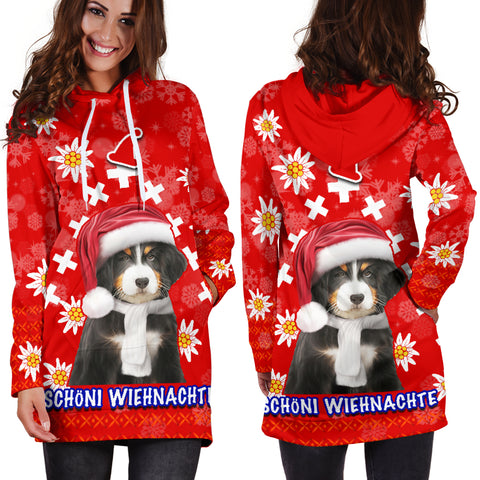 Christmas Edelweiss Switzerland Women Hoodie Dress Bernese Mountain Dog 1 | 1sttheworld