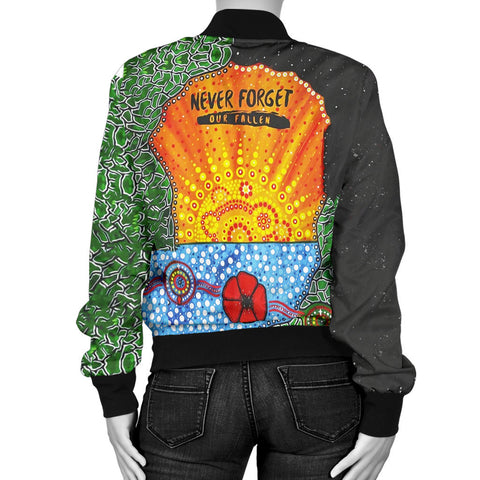 Image of Aboriginal Australian Anzac Day Women Bomber Jacket - Lest We Forget Poppy 2