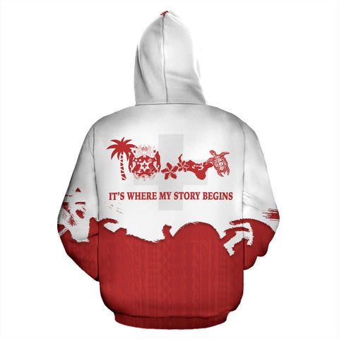 Tonga Where My Story Begins Hoodie with Red mix White color - Back - For Men and Women