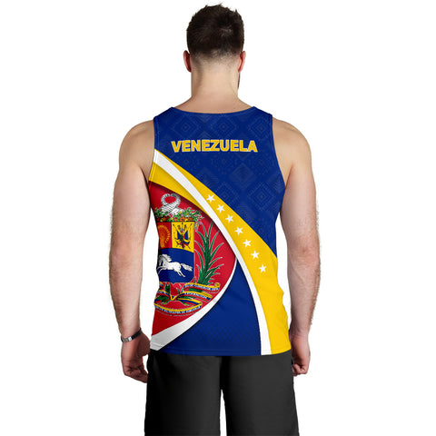 1stTheWorld Venezuela Tank Top, Venezuela Coat Of Arms Pattern Men A10