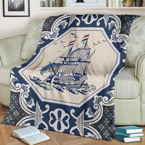 Image of Netherland Premium Blanket - Dutch Boat Delft Blue