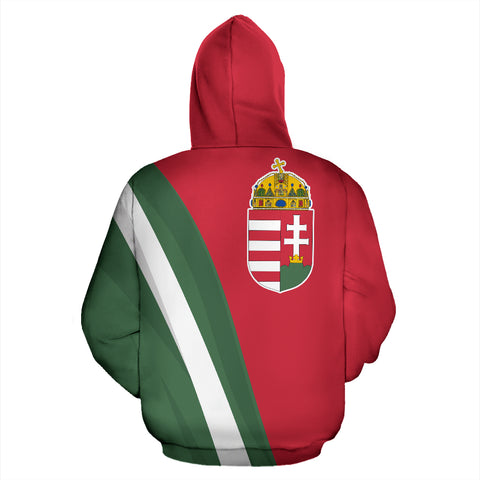 Hungary Hoodie - Back - Hoodie Red mix White and Green color - by 1sttheworld for Men and Women
