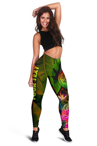 Image of American Samoa Polynesian Personalised Women's Leggings -  Hibiscus and Banana Leaves