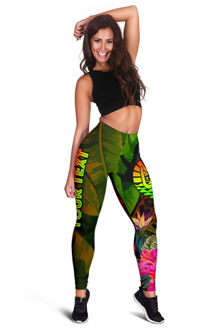 Image of Tahiti Polynesian Personalised Women's Leggings -  Hibiscus and Banana Leaves