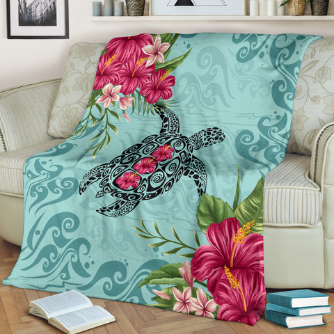 Hawaiian Hibiscus And Turtle Premium Blanket |Home Set | 1sttheworld