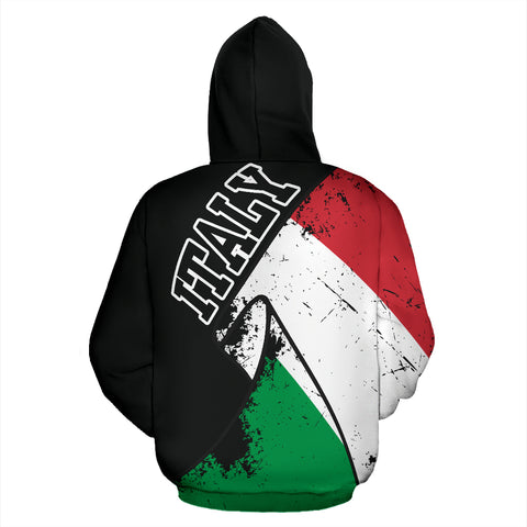 Italy Special Grunge Flag Zip-Up Hoodie A02