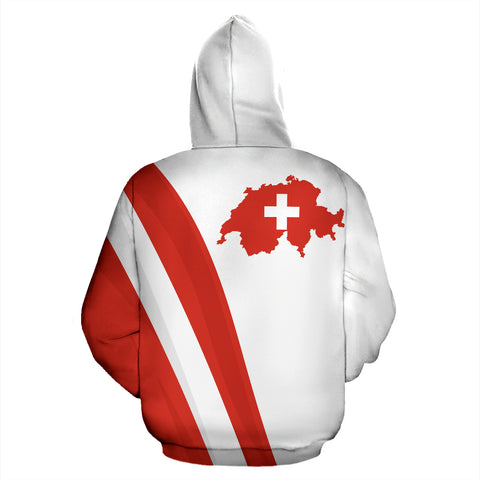 Switzerland Hoodie K5 White by 1sttheworld for Men and Women